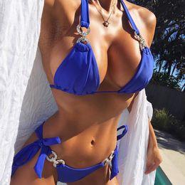 Bikini de moda diamante online-Bikini dividido Diamante Hebilla Correa Bikini Moda de verano Nuevas mujeres Sexy Correa Traje de baño Correa dividida Traje de baño