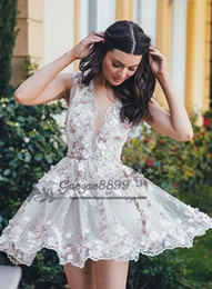 gowns neck pattern Promo Codes - Sexy v neck short Homecoming Dresses 2019 A-Line chic 3D floral Lace Graduation Cocktail Gowns Custom Made Cheap tulle saudi prom dresses