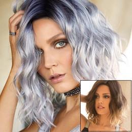 Cabello castaño plateado online-Super Cool Ombre Hair Bob Pelucas Sintético Resistente al Calor Ombre Blue a Silver White Brown Gradient Color Hair Bobo Peluca para damas