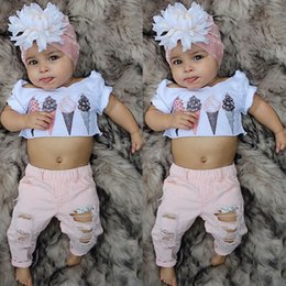 Bambini rosa crema bambino online-2019 Toddler Kids Baby Girl Clothes Set Estate manica corta gelato Crop Top Pink Denim Pants Outfit Costume Abbigliamento 2PCs