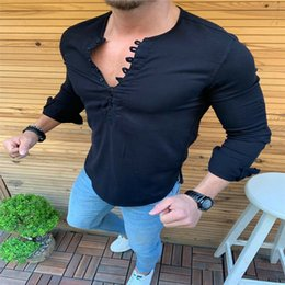 muscle men dresses Promo Codes - Luxury Slim Men Muscle Casual Dress Shirts Long Sleeve Formal Top NEW