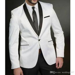 hombres Novios botón esmoquin dos negocios Fiesta de boda Novios Ajuste de negro trajes de de Hombres Blanco y Un 2018 Chaqueta Mejores piezas gYb6y7f