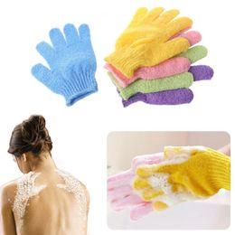 2019 massagem de cobre Dupla Lado Luvas de Banho Esfoliante Lavar a Pele Spa Scrubber Luva Spa Massagem Cinco Dedos HHA201