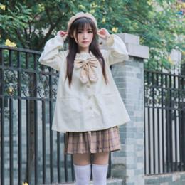 Jaqueta de marinheiro on-line-Japonês doce laço bordado estilo da faculdade Sólidos Jackets Loose Women Sailor Collar Wider revestimento do revestimento Lolita Brasão Outwear