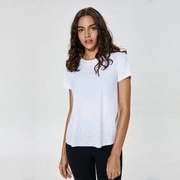Schnelle t-shirts online-Quick Dry T-Shirt Frauen Turnhallen-T-Shirts LU-86 Feste weicher Sport Tops Frauen Yoga Top Frauen Shorts Sleeve Yoga Shirts Breath