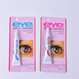 Rosso trucco nero dell'occhio online-2019 Eye Lash Colla Black White Trucco Adesivo Impermeabile Ciglia finte Adesivi Colla blu e rossa Disponibile