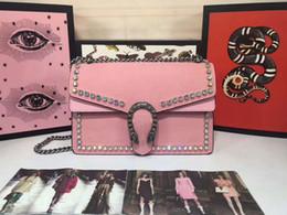 2019 bolso de diseñador de ante negro Nueva calidad superior mujer diseñador bolsos de lujo monederos de gamuza rosa con cadena de diamantes de imitación bolso crossbody señoras marca bolsos de hombro bolso de diseñador de ante negro baratos