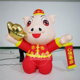 Yeni yıl dekorasyon özelleştirilmiş Cazip dev şişme domuz maskotu büyük şişme pembe domuz nereden büyük beyaz balon tedarikçiler