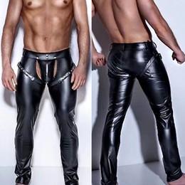 Dança aberta da virilha on-line-Faux Leather Mens Aberto Crotch Calças Black Night Club Exótico Sexy Masculino Calças de Dança de Couro PVC Homens Correias Calças Lingerie