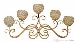 candelabros de cristal europeo Rebajas Candelabro de cristal de hierro forjado europeo creativo de 10 piezas / Artículos de decoración para la cena romántica a la luz de las velas / Candelabro de 5 cabezas