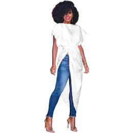 Drapiertes hemd online-Neue Streetwear Frauen Kleider Feste drapierte unregelmäßige Kurzarm T-Shirts Blusen Kleider
