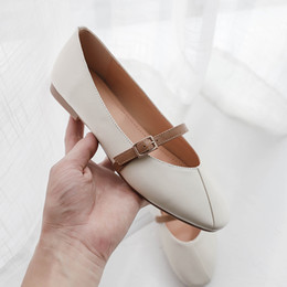 f69dae469b4 Wholesale Thin Buckle Thong Belts Dress Shoe High Qulity Genuine Leather  Women Flat Shoe Fashion Metal White Leafers Casual Shoe New Arrival