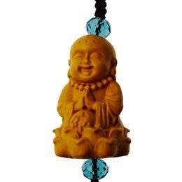 Decoraciones de teléfonos móviles online-Little cute monk mini Buddhist ornaments sculpture key mobile phone decorations
