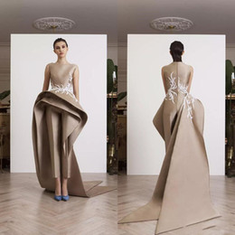 column bateau dress Promo Codes - Krikor Jabotian Appliques Women Jumpsuits Dresses Evening Wear Ruffle Peplum Elegant Sleeveless Prom Party Dress Long Train Formal Gowns