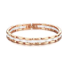 Braccialetto semplice della mano dell'oro online-Versione coreana della moda placcatura in oro rosa Bracciale femminile bianco ceramica moda semplice dolce mano gioielli regolabile