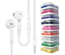 Volumen del auricular de control remoto online-Auriculares de control de auriculares de 3,5 mm en el oído con micrófono y volumen remoto para Iphone x 8 más Samsung S6 S7 con paquete minorista