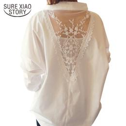 Colar de renda branca blusa on-line-2019 Novas Mulheres Encabeça Outono Blusas de Manga Longa V Collar Camisa Branca Camisas de Renda Feminina Roupas Femininas Blusa Casual Sólida D95 30 MX19070501