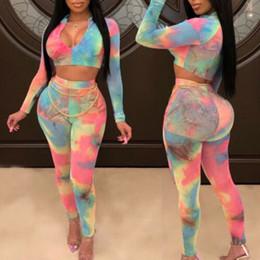 combinaisons multicolores Promotion 2pcs Set Femmes Femmes Multicolor Imprimer Bodycon longues Jumpsuit barboteuses Clubwear Mesdames Hot Peintes Vêtements d'été Femmes