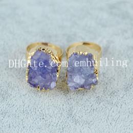 10шт окрашенный цвет шероховатый кварц Druzy Geode кольца регулируемый размер небольшой нерегулярный Drusy камень, обрамленный в гальваническим золотом цвет заявление кольцо от
