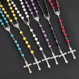 Longs pendentifs en perles d'imitation en Ligne-Long Chapelet Croix Pendentif Colliers Imitation Perle Chaîne En Acier Inoxydable Gland Long Christian Pour Femmes Mode Bijoux