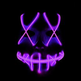 2019 sinais de néon dos sonhos dos cocktail Máscara do fulgor do DIODO EMISSOR de luz da máscara do fantasma de Halloween luz da rachadura do EL linha máscara da bola do partido da roupa da forma Vermelho azul Verde Rosa Amarelo