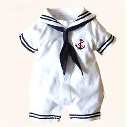 Monos marineros online-infantes de disfraces al bebé recién nacido mameluco ancla marinero de algodón blanca manga corta mono de una pieza trajes de Halloween