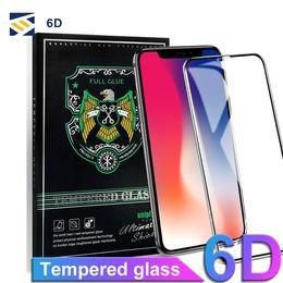 Écran tactile verre pouces en Ligne-Pour 2018 Iphone 8 Plus X XR XS MAX 5.8 6.1 6,5 pouces Protecteur d'écran en verre trempé 6D Touch Edge verre plein écran pour Iphone 8 7 6 plus