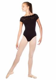 Meninas dança shorts preto on-line-ICOSTUMES laço de manga curta de dança de Ballet leotards para crianças Nylon preto de ginástica Collant para meninas competição