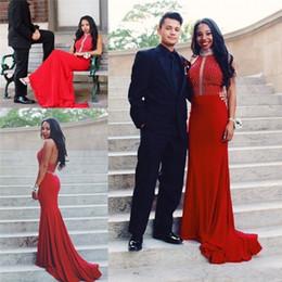 Argentina 2019 New Burgundy Red Halter Backless largo sirena vestidos de baile cristales de sirena con cuentas más el tamaño africano árabe formal vestidos de fiesta de noche Suministro