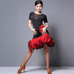 ropa de vestir profesional de las mujeres Rebajas Traje de baile latino Ropa de práctica para mujeres en negro y rojo Vestido profesional de la competencia latina Tango Performance Costume DQL1224