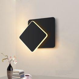 светильники настенные для гостиной Скидка квадратный светодиодный настенный светильник для спальни гостиной белый черный бра настенные светильники 360 градусов вращающийся металлический 5W / 16W светильники