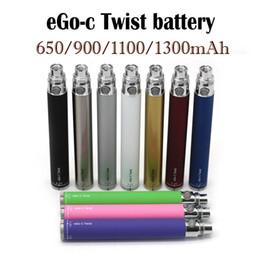 batteria della penna a vape variabile della vape Sconti Nuova batteria eGo-C Twist per sigaretta elettronica variabile Tensione 3,2-4,8 V 650 ~ 1300 mAh 510 Filo per tutte le serie eGo vape pen Kit