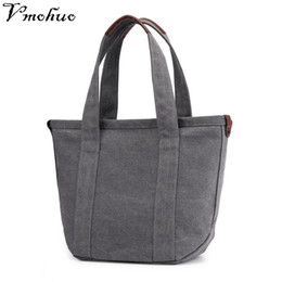 2019 сумки для покупок VMOHUO  Women's Canvas Handbag High Quality Female Shoulder Bag Vintage Solid Multi-pocket Fashion Ladies Totes Bags Female дешево сумки для покупок
