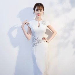 white tight evening gowns Promo Codes - Lady Cheongsam White Appliques Chinese Prom Dress Sexy Tight Slim Evening Party Gown Plus Size 3XL Vintage Vestidos De Festa