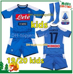 yellow football socks Coupons - 2020 Naples kids kit sets socks 19 20 napoli soccer jersey kids 2019 2020 Naples HAMSIK INSIGNE MERTENS FABIAN kids football kits shirts