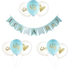 Sello para papel online-Hot Stamping Balloon It Is A Girl Boy Birthday Party Paper Baby Shower Bautismo Decoración Suministros en forma de corazón patrón 18pmC1