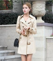 2019 veste en gros de peplum féminin Automne Femmes Trench-Coat Britannique style De Mode Slim Couleur Unie Double Poitrines Cravates coupe-vent moyen-long Femme Poussière OverCoats