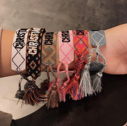Bracelets pour copines en Ligne-Cadeau de petite amie de concepteur C et D armure lettre bracelet géométrique motif de diamant femme bracelet tricoté à la main