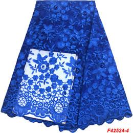 2019 tessuto pizzo nigeriano blu royal Vendita calda tulle africano tessuto di pizzo di alta qualità blu royal in rilievo maglia nigeriana tessuto di pizzo ricamo tulle francese F4-2524 tessuto pizzo nigeriano blu royal economici