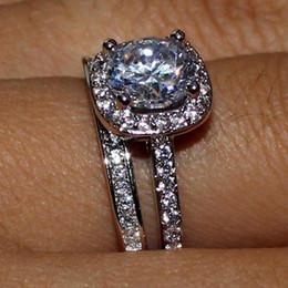 Ensembles de bague de mariage marquise en Ligne-Marquise princesse coupe 925 argent topaze blanche bague en diamant ensemble cadeaux de fête de mariage cadeau taille 5-12