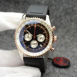 Мужские золотые кварцевые часы черный циферблат онлайн-44 мм кварцевый хронометр мужские часы золотой корпус мужские часы дата наручные часы рамка из нержавеющей стали черный циферблат резинкой