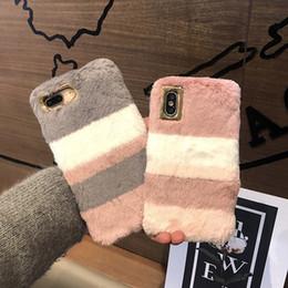 Telefone de pele de coelho on-line-Frete grátis toda venda cor fofo pele de coelho silicone phone case para apple iphone x 6 6 s 7 7 mais 8