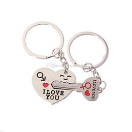 Pareja TE AMO Corazón Llavero Amante Corazón Llave Forma llavero llavero Boda Favores Party Gift + DHL envío gratis desde fabricantes