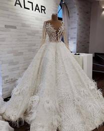 Luxus Arabisch Brautkleider Mit Feder Perlen Pailletten Jewel Neck A Line Langarm Brautkleider Sweep Zug Vestido De Novia von Fabrikanten