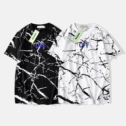 64888ad5 Off tide brand new white marble ink t-shirt graffiti black and white  short-sleeved men and women wild couples ins black ink t shirts for sale