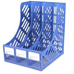 Revista de plástico on-line-Material Escolar Escritório Atacado 3 segmento de rack de arquivo rack de revista de papel multifuncional prateleira de armazenamento de mesa da família caixa de livro de plástico