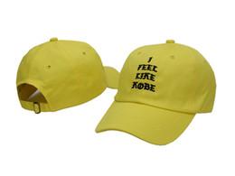 Chapéu de feltro amarelo on-line-Amarelo eu sinto como kobe Casquette Marca Homens Mulheres Pico Caps caça Bill Curvo Bill Snapback Chapéus de golfe Chapéu de Sol PPMY