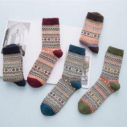 e4e5597169713 Women Ethnic Retro Long Thick Socks Winter Vintage Warm Knit Wool Cashmere  socks Geometric Pattern Hosiery PPA69