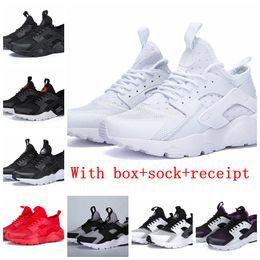 promo code 5ba78 7d406 Mit Box Triple Weiß Schwarz Huarache 4.0 1.0 Laufschuhe Klassische rote Männer  Frauen Huarache Schuhe Huaraches Trainer Sport Sneakers 36-45