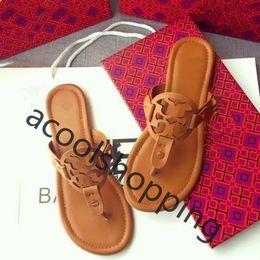 c6c8661e8b Brand Leather Slipper Slides For Woman Lady Girl Ms Designer Tory Miller  Sandal Flat Shoes Jelly Mini Miller Thong Sandals Flip Flop Loafer